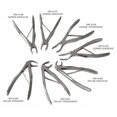 Forceps for extr. of primary teeth, set of 7 pcs