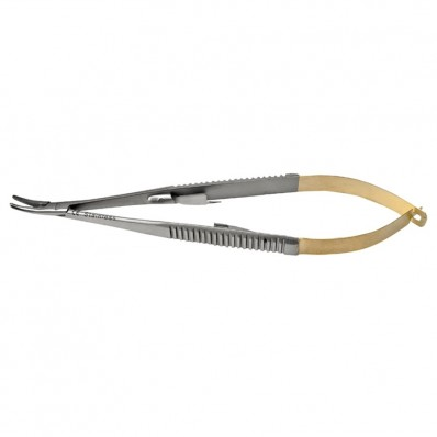 Castroviejo needle holder with TC, curved - 18 cm