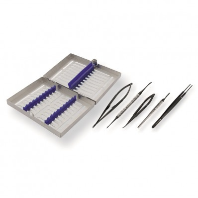Microsurgery set in sterylization cassette